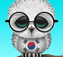 Nerdy South Korean Baby Owl on a Branch by Jeff Bartels