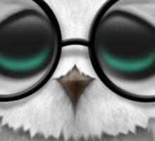 Nerdy South Korean Baby Owl on a Branch Sticker