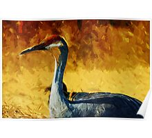 Sandhill Crane In Autumn Abstract Impressionism Poster