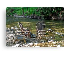 The Big Sur River Inn's Signiture Chairs Canvas Print