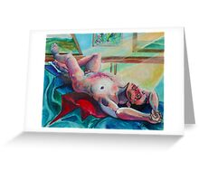 Laying Male Nude (Acrylics)- Greeting Card