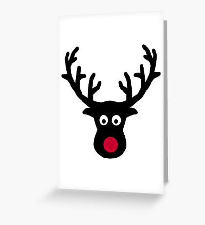 Reindeer face red nose Greeting Card