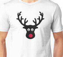 Reindeer face red nose Unisex T-Shirt
