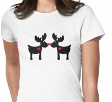 Reindeers love heart Womens Fitted T-Shirt