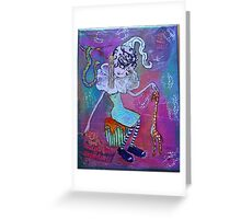 Cora the Big Eyed Crooked Neck Girl Greeting Card