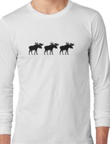 Three moose elk Long Sleeve T-Shirt