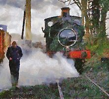 Engineer walking through steam from locomotive, East Somerset Railway, Shepton Mallet, UK by buttonpresser
