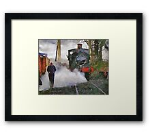Engineer walking through steam from locomotive, East Somerset Railway, Shepton Mallet, UK Framed Print