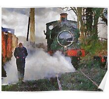 Engineer walking through steam from locomotive, East Somerset Railway, Shepton Mallet, UK Poster