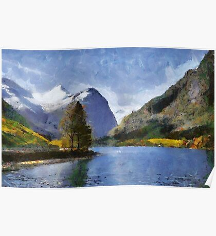 Briksdal glacier, Oldevatnet lake, Norway Poster