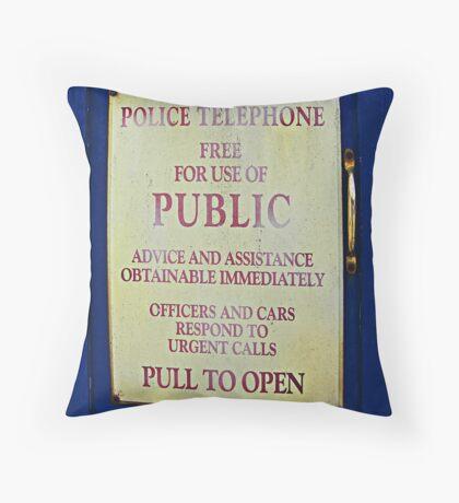 Tardis sign Throw Pillow