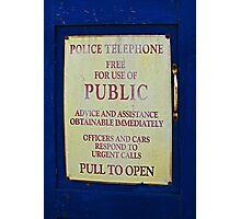 Tardis sign Photographic Print