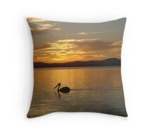 Orange Pelican Sunset Throw Pillow