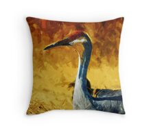 Sandhill Crane In Autumn Abstract Impressionism Throw Pillow