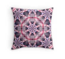 Pink and purple fantasy floral kaleidoscope Throw Pillow