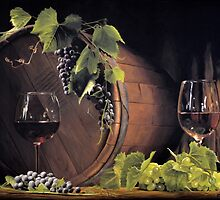 Still life: Barrel, grapes and wine by Ivan Pili