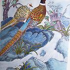 Chinese pheasants detailed style water colour by coolart
