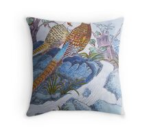Chinese pheasants detailed style water colour Throw Pillow