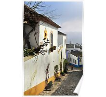 Cobbled street, Obidos, Portugal Poster