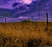Grass, Fence, Hills, Clouds by FuriousEnnui