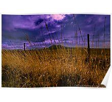 Grass, Fence, Hills, Clouds Poster