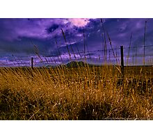 Grass, Fence, Hills, Clouds Photographic Print
