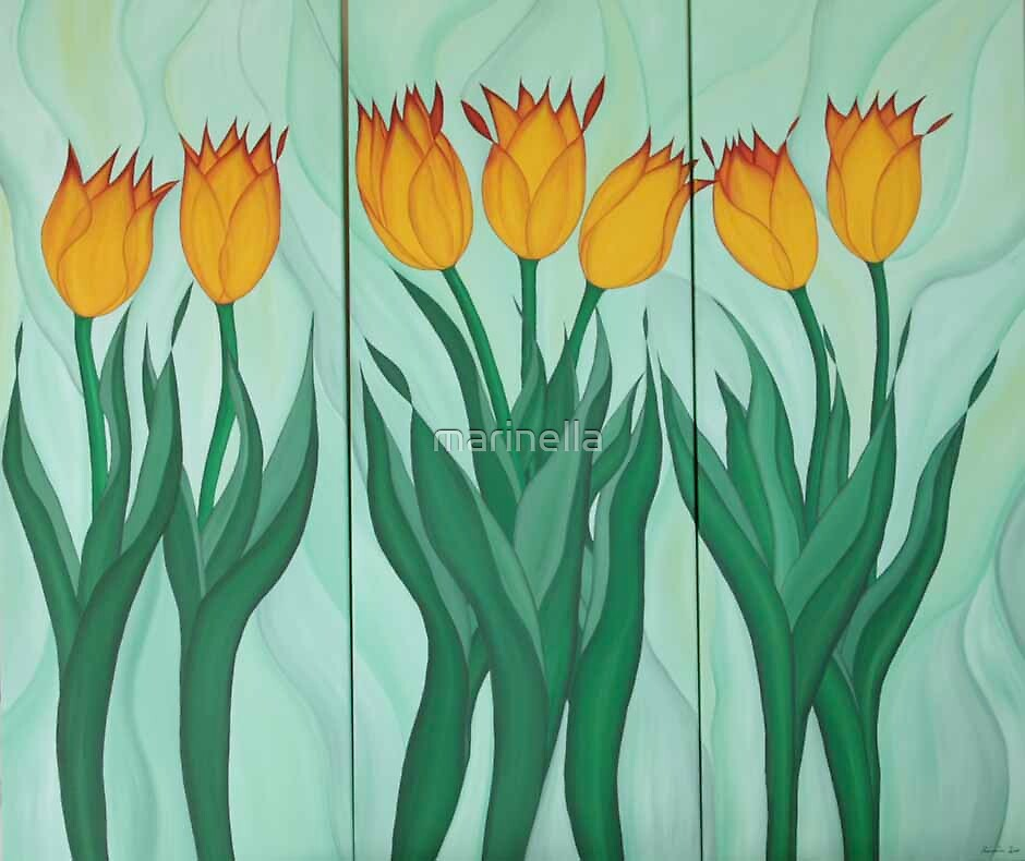 Yellow Tulipans by Marinella  Owens