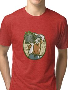 Organic Farmer Harvest Basket Woodcut Linocut Tri-blend T-Shirt