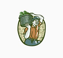 Organic Farmer Harvest Basket Woodcut Linocut Unisex T-Shirt