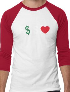 Fuck Money Spread Love [White] Men's Baseball ¾ T-Shirt
