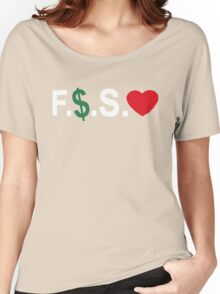Fuck Money Spread Love [White] Women's Relaxed Fit T-Shirt
