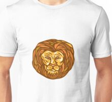 Lion Head Woodcut Linocut Unisex T-Shirt