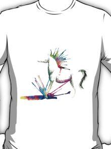 Rainbow Splash Minimal Horse T-Shirt