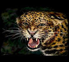 Snarling Leopard Drawing by Ine Spee