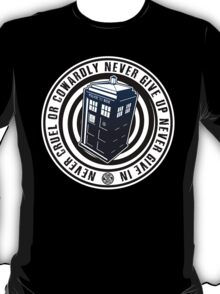 Never Cruel Or Cowardly - Doctor Who - Blue TARDIS T-Shirt