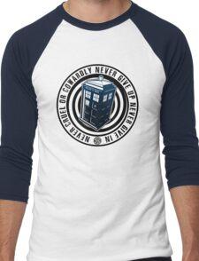 Never Cruel Or Cowardly - Doctor Who - Blue TARDIS Men's Baseball ¾ T-Shirt