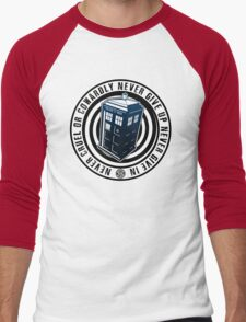 Never Cruel Or Cowardly - Doctor Who - Blue TARDIS Men's Baseball ¾ T-Shirt