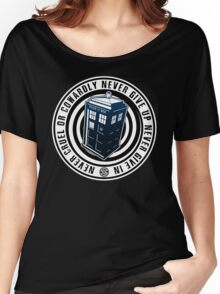 Never Cruel Or Cowardly - Doctor Who - Blue TARDIS Women's Relaxed Fit T-Shirt