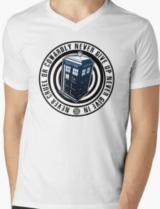 Never Cruel Or Cowardly - Doctor Who - Blue TARDIS Mens V-Neck T-Shirt