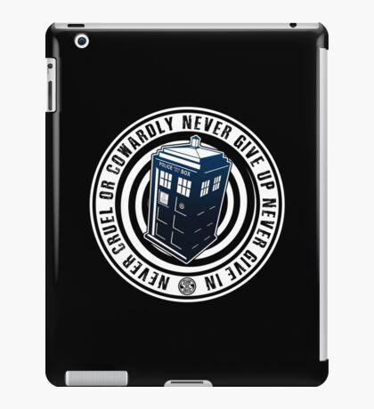 Never Cruel Or Cowardly - Doctor Who - Blue TARDIS iPad Case/Skin