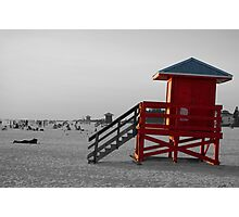 red guardhouse black and white Photographic Print