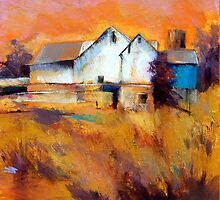 Warm Autumn Sun ( Barn ) From original pastel painting by Madeleine Kelly by Madeleine Kelly