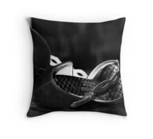 Black Suede Shoes Throw Pillow
