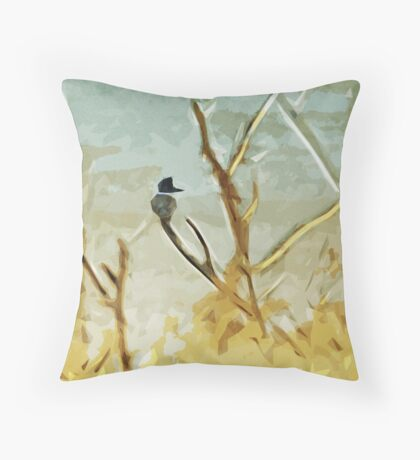 Belted Kingfisher At Rivers Edge Throw Pillow