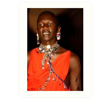 Young Maasai (Masai) Moran with Intiation Scars  Art Print