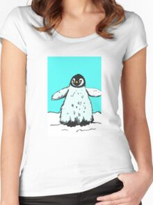 Penguin with moustache Women's Fitted Scoop T-Shirt
