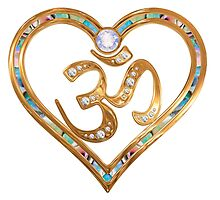 Two nesting golden hearts centered in OM  by TJ Devadatta Best