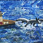 3 dolphins jumping by orna