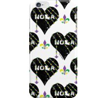 NOLA Heart Wrapped in Mardi Gras Beads Pattern iPhone Case/Skin