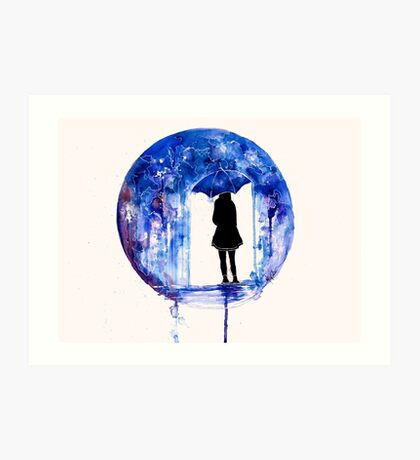 looking for the answers in the pouring rain Art Print
